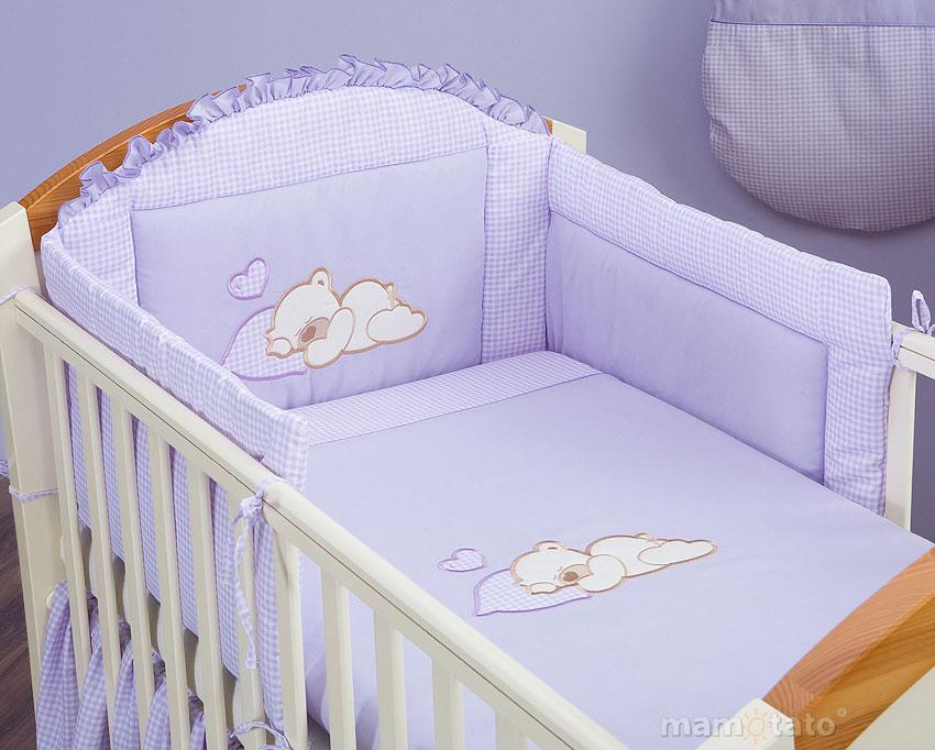 MAMO TATO Ochraniacz do łóżeczka 60x120 Śpiący miś brąz z białym