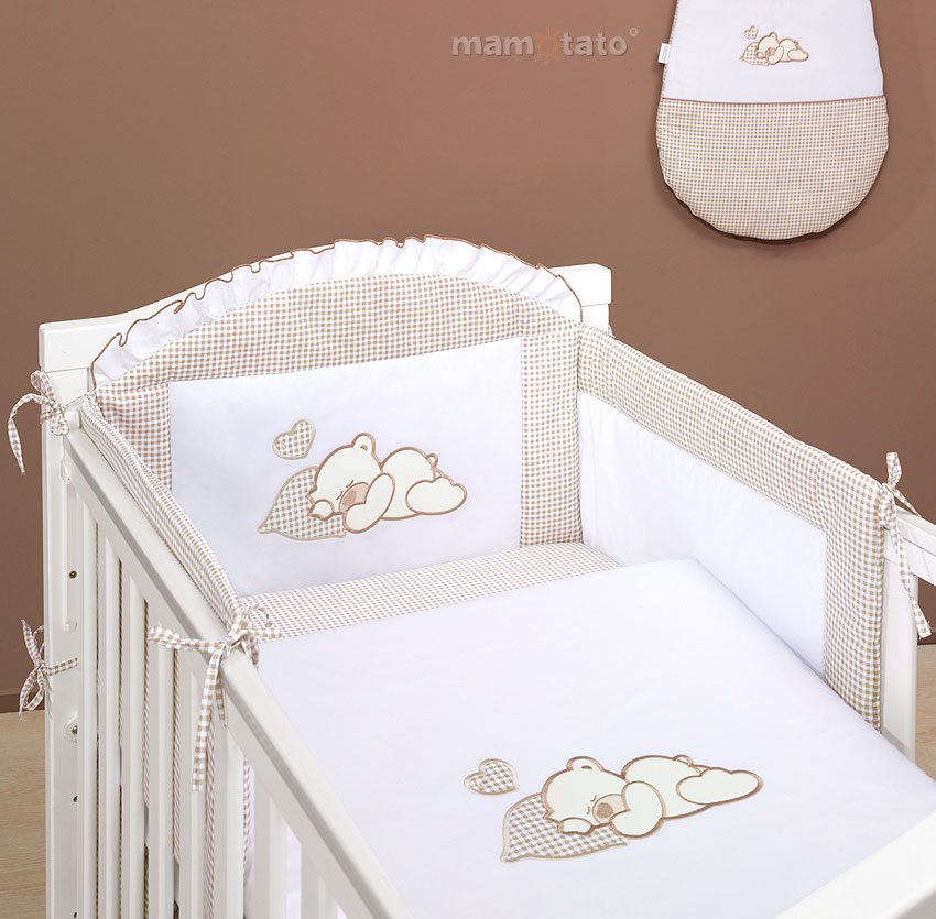 baby bettw sche bettset a 15tlg f r babybett moskitonetz zimmer braun wei 6desg ebay. Black Bedroom Furniture Sets. Home Design Ideas